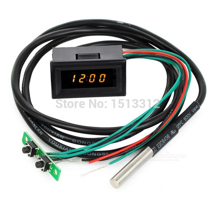 NEW 1.2 Yellow LED Time / Voltage / Temperature Digital Display Thermometer Voltmeter Free Shipping<br><br>Aliexpress