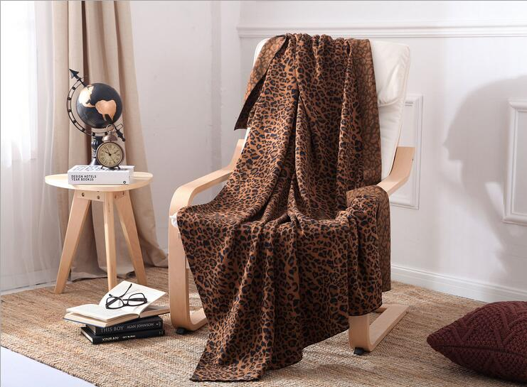 Фотография 2016 New High quality 100% cotton multifunction one piece leopard sofa rectangle blanket  knitted 130*180cm free ship wholesale