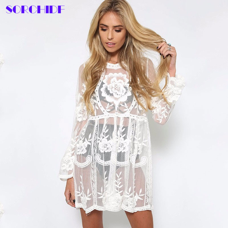 SORCHIDF Sexy Lace Dress For Women New Party Loose Mini Dress Full Sleeve Clothing Sun-protective Beach Smock Dresses Summer(China (Mainland))