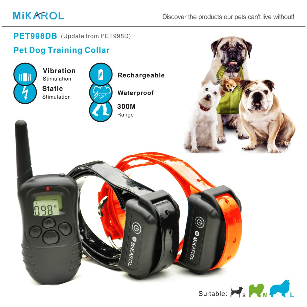 300M Remote Control Dog Electric Collar, Rechargeable and Waterproof LCD Pet Dog Training Collar Anti Bark Control for 2 dogs(China (Mainland))