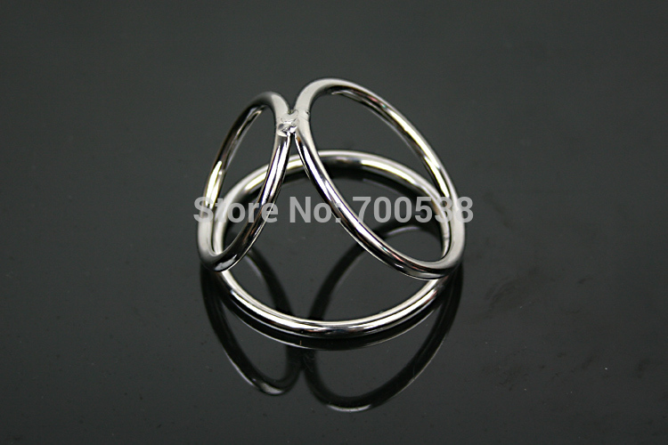 New Male Delay Toys Steel Chastity Cock Rings Style 3 Holes Two Size Can Chose Metal Fetish Delayed Ejaculating Ring(China (Mainland))