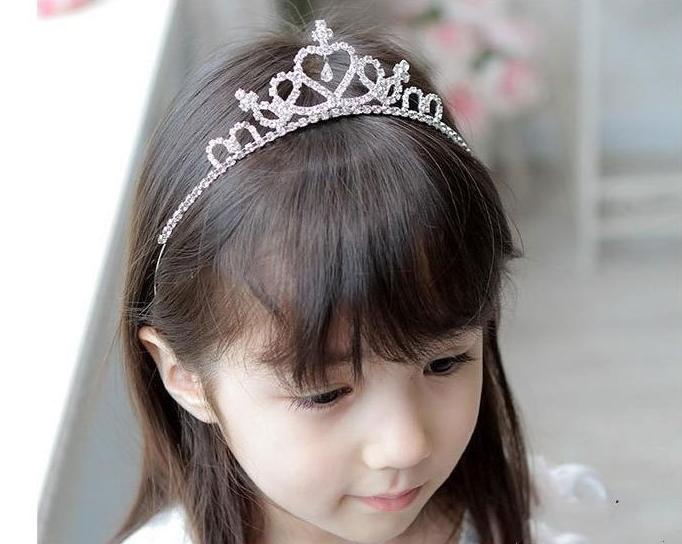 Lovely Cute Girls Rhinestone Princess Crown Headband Tiara Hair Sticks Girl Hair Accessories 5PCS/LOT(China (Mainland))