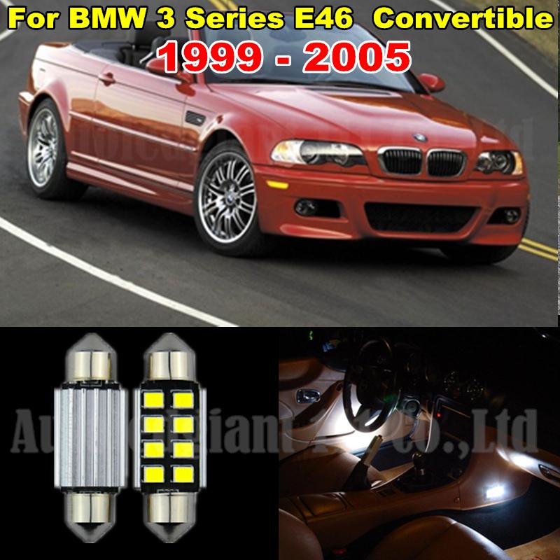 10x Pure White Error LED Car Canbus Light BMW 3 Series E46 Interior lighting kit M3 Convertible + Tag 1999-2005 - WLJH Carparts Store store