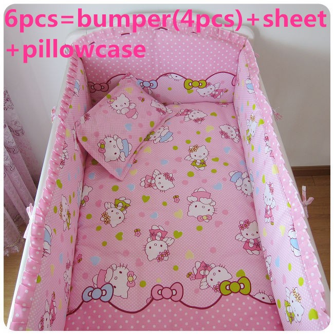 Promotion! 6PCS Hello Kitty  Baby Bedding Set Baby cradle cot bedding set cunas crib Sheet ,include(bumpers+sheet+pillow cover)<br><br>Aliexpress
