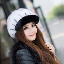 Style Casual Women Real Mink Fur Hat Knit Hat Nature Mink Fur Headgear Winter Female Beanies Caps