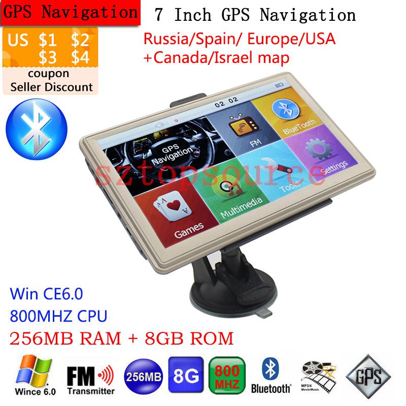 Hight Quality 7 inch Car GPS Navigation Bluetooth AVIN FM 8GB/256MB Capacitive Screen Vehicle Truck GPS Sat Nav Free Map Update(China (Mainland))