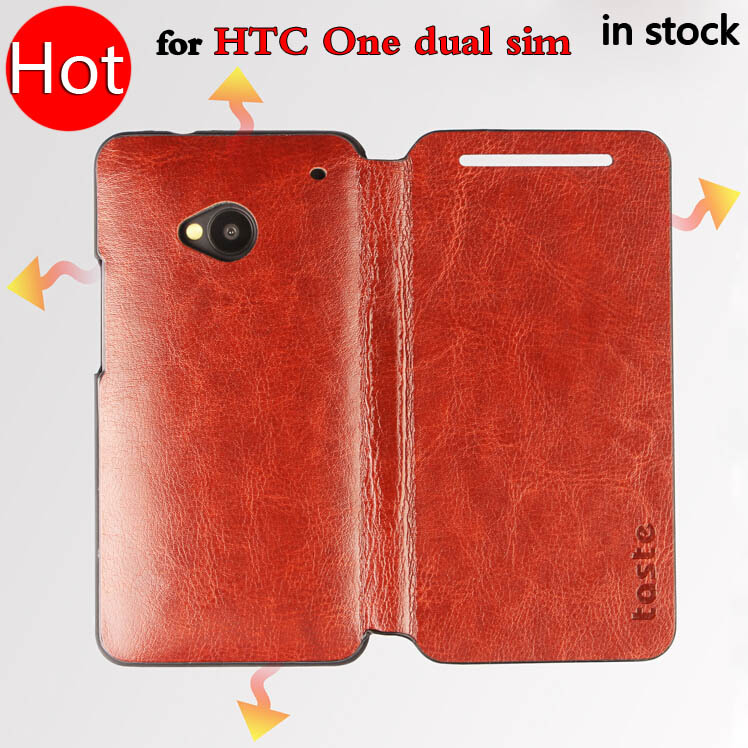 Taste Brand High Quality Case For HTC One 802t Flip Leather Cover for HTC One Dual SIM 802d/802w Phone Case 4 Colors(China (Mainland))