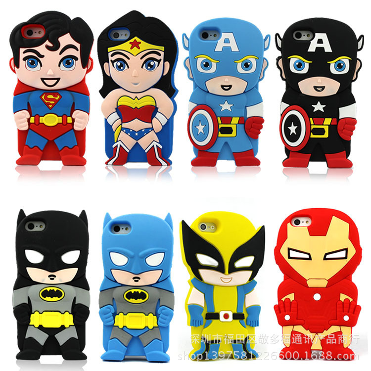 3d cartoon Batman Wonder woman Superman spider-man Captain America soft rubber silicone case for apple ipod touch 4 5 4th 5th(China (Mainland))