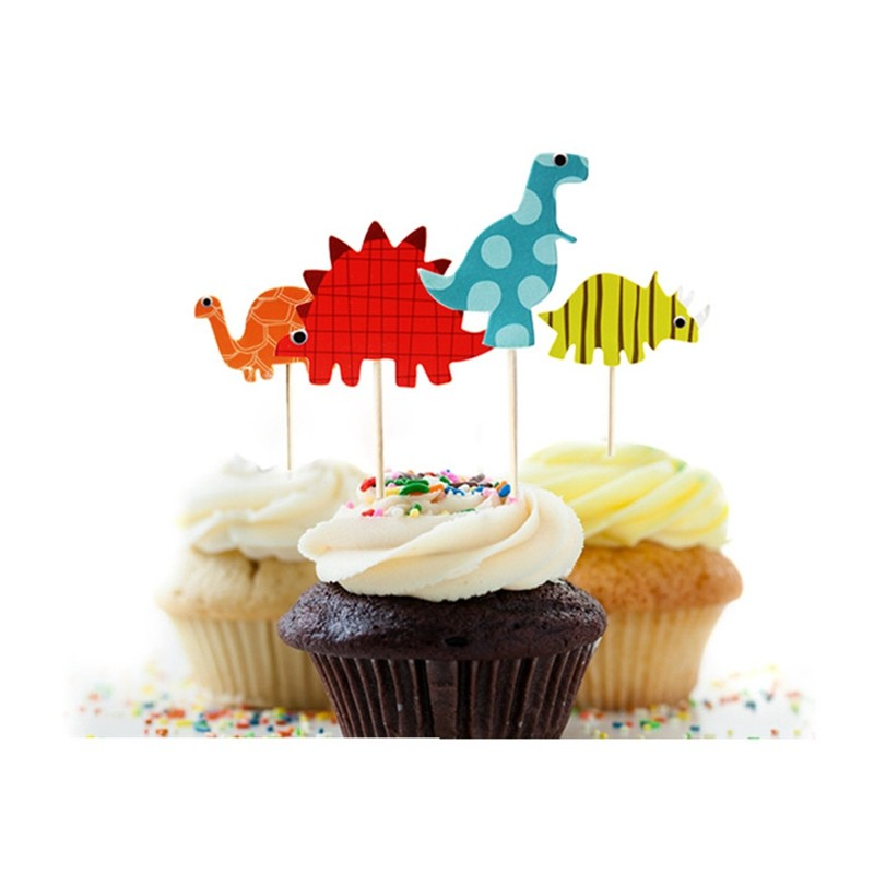 48pcs Dinosaur Cupcake Toppers, Funny Wedding Cake Toppers Cake Decorating Supplies Kids Party Decoration Accessories(China (Mainland))