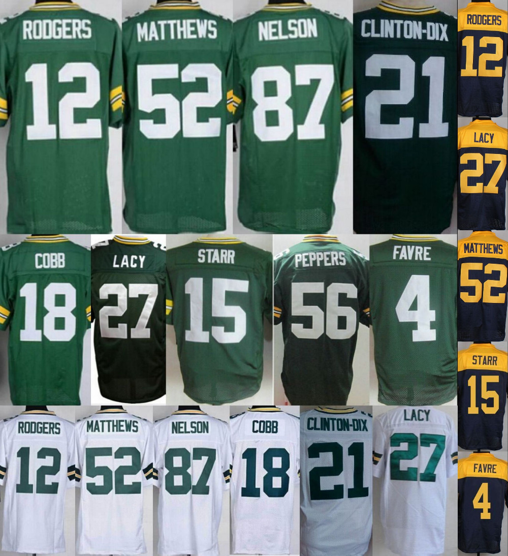 #12 Aaron Rodgers Jersey Eddie Lacy Clay Matthews Jordy Nelson 100% stitched elite Top quality Football Jersey(China (Mainland))