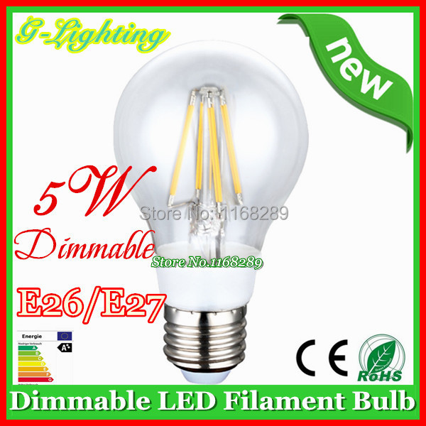Sale dimming filament/dimmable bulb filament light 1 pc/lot 110lm/w 4W 5W e27 e14 clear glass cover decorative filament bulbs(China (Mainland))