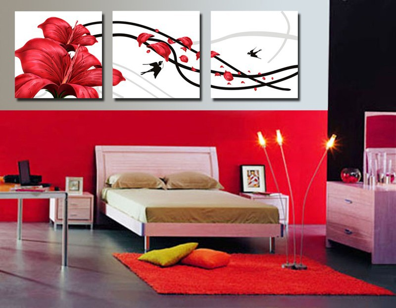 excellent tableau moderne grand format salon rouge chambre. Black Bedroom Furniture Sets. Home Design Ideas
