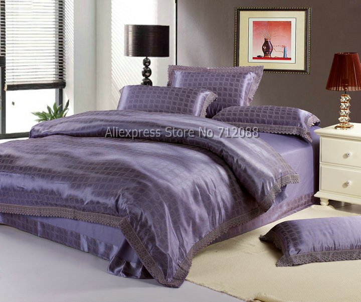 Wholesale,hot sale blue purple 4pcs Queen/Full/King bedding sets luxurious lace border Satin Cotton Comforter/quilt/Duvet Covers(China (Mainland))