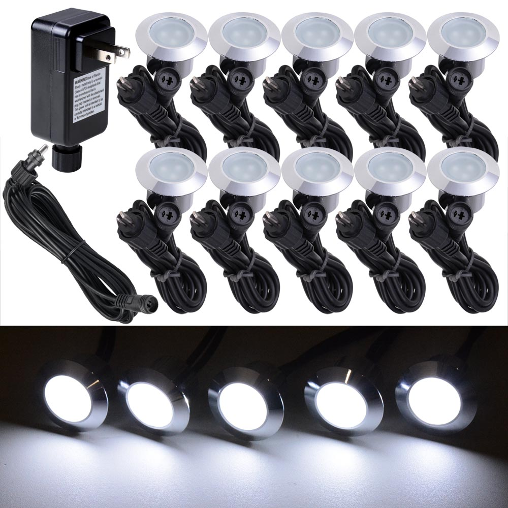 10pc Cool White LED Deck Lights Kit Outdoor Garden Patio Stair Landscape Pathway(China (Mainland))