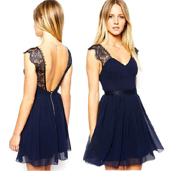 Retro Sexy Lace Chiffon Prom Gowns Backless Party Cocktail Women Mini Dress For Free Shipping(China (Mainland))
