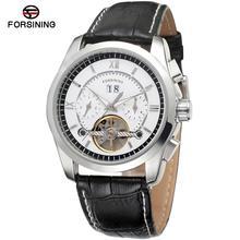 Forsining reloj de hombre antiguo Tourbilion Autoamtic Auto cuero de la fecha Top marca Analog vestido de pulsera FSG625M3