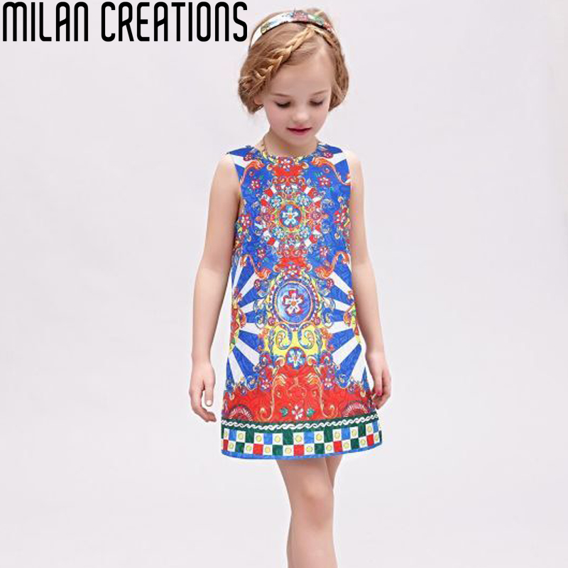 Milan Creations Girls Dress Kids Clothes 2016 Brand Baby Girl Dresses Carretto Siciliano Print Children Dress Princess Costume