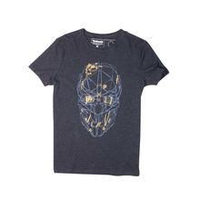 Traspirante Uomo Corto Dishonored Ufficiale 2-Corvo'S Maschera D'oro Melange Grigio O-Collo Compressione Magliette(China (Mainland))