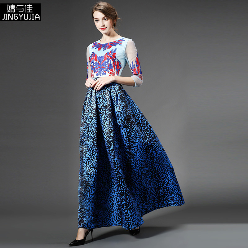 spring and summer 2016 high-end women runway fashion flower embroidery dot print slim long hollow gauze sexy casual maxi dressОдежда и ак�е��уары<br><br><br>Aliexpress