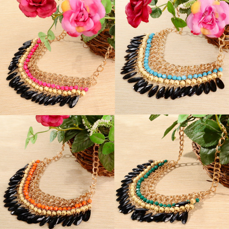 ACEMIR Bohemian Tassels Drop Fashion Gold Trendy Choker Chain Statement Necklaces & Pendants Collar Jewelry For Woman NF160(China (Mainland))