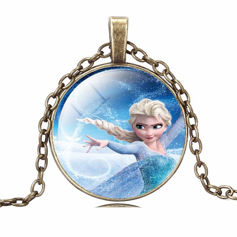 2015 Fashion Classic statement Necklace Cartoon Princess Anna Elsa Glass Pendants Necklace Jewelry Gift For women Girl Birthday(China (Mainland))