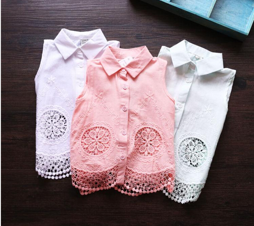 2015 Kids Girls Crochet Lace Shirts Baby girl Hallow Out embroidered floral jumper tops Babies Summer blouses children's clothes(China (Mainland))