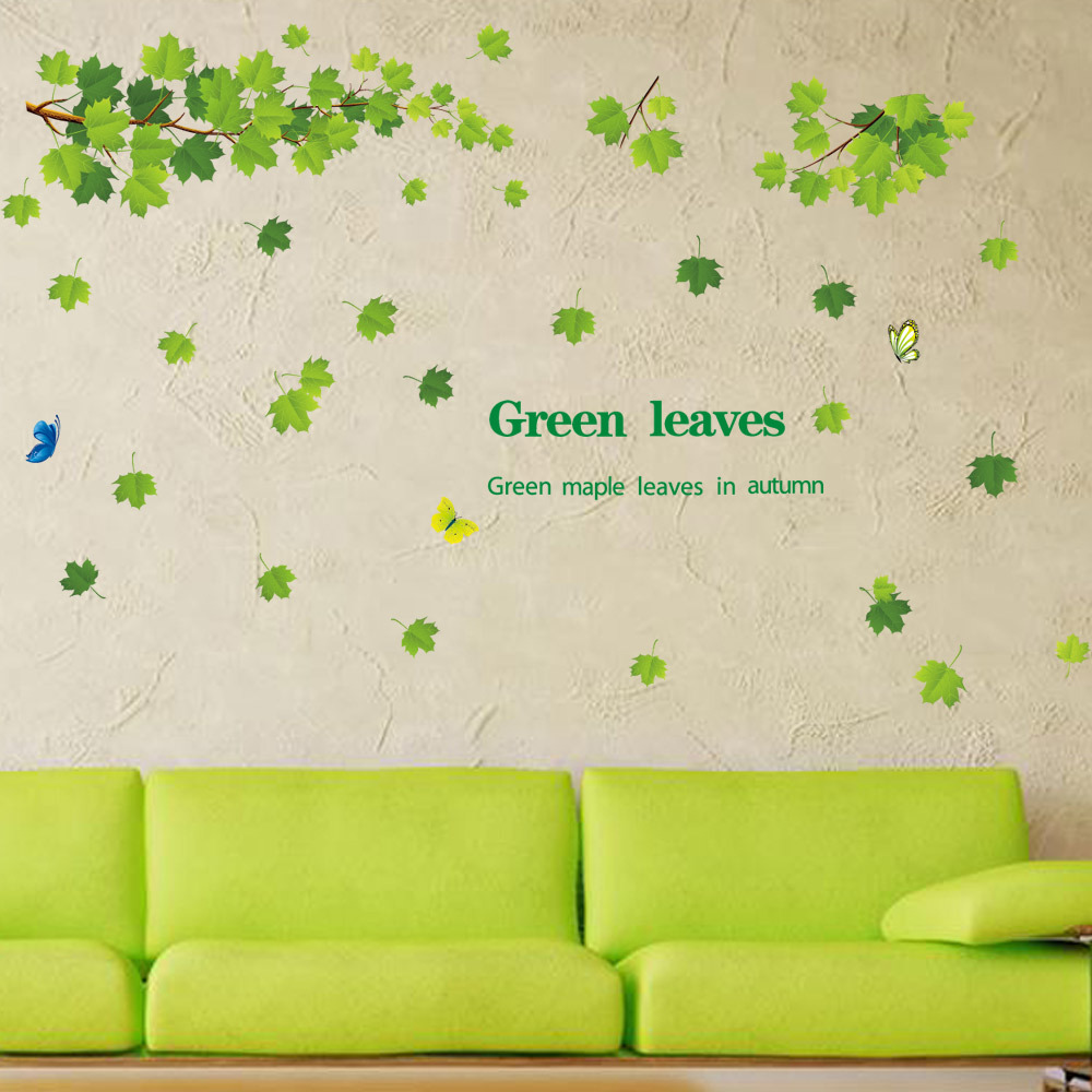 9145-y DIY Green Maple Leaf Wall stickers For Kids Room decoration living room and bedroom wall decors Removable PVC Wall Paper(China (Mainland))