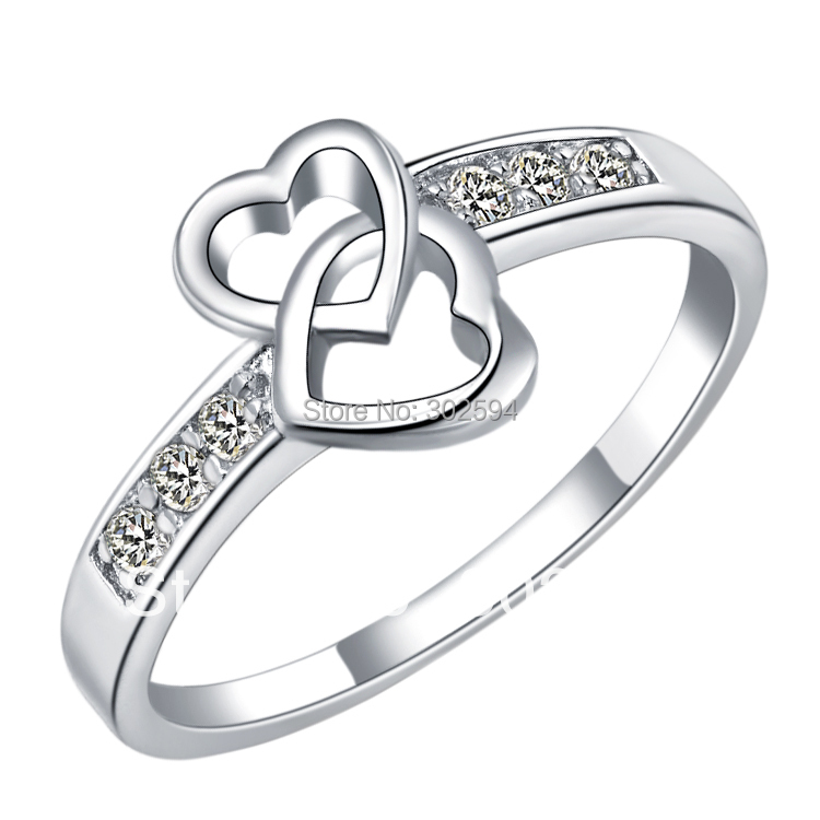 love fashion heart Wedding Anniversary Cool Gifts 925 sterling silver Zirconia crystal Ring jewelry Platinum Plated whit Box(China (Mainland))