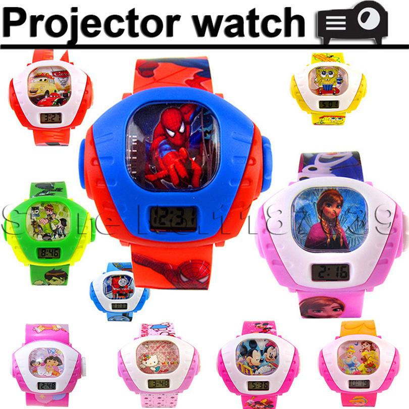 3D led digital projector cartoon watch children kids wristwatch boys girls clock child gift famous brand shape image projection(China (Mainland))