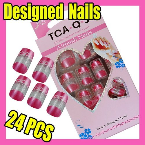 Fast & Free Shipping 24 Cute New Designed Nail Art Fake False Tips + Glue F307