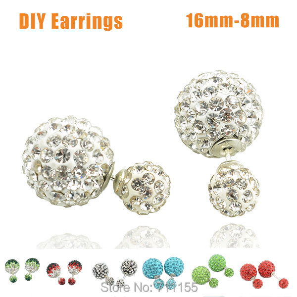 2015 DIY Shamballa Ball Double Faced Pearl Stud Earrings Brand Jewelry Candy Piercing Face to Face Statement Crystal Ear