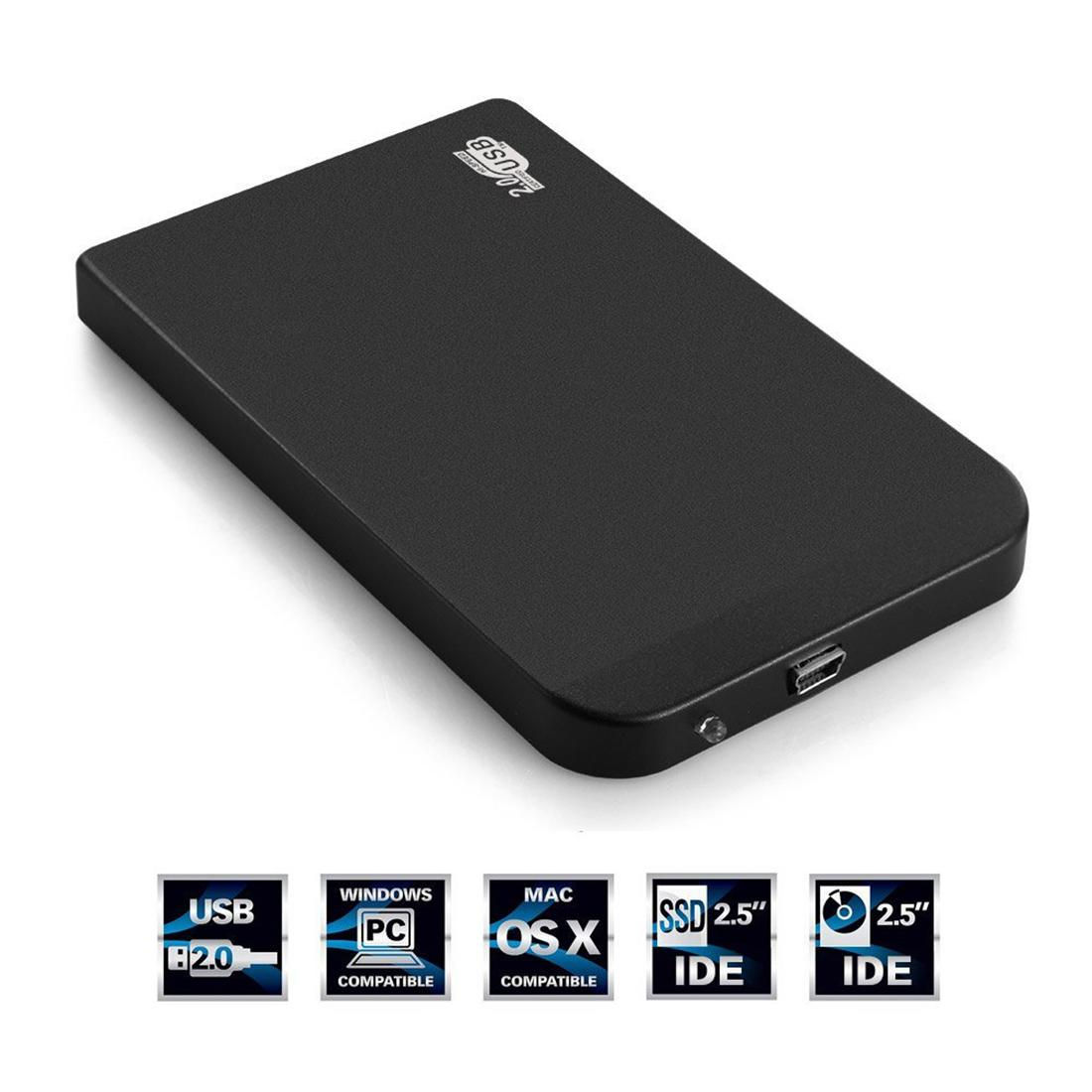 New 2.5 Inch Portable USB 2.0 IDE HDD Hard Disk Drive Enclosure External Cover Box Black(China (Mainland))