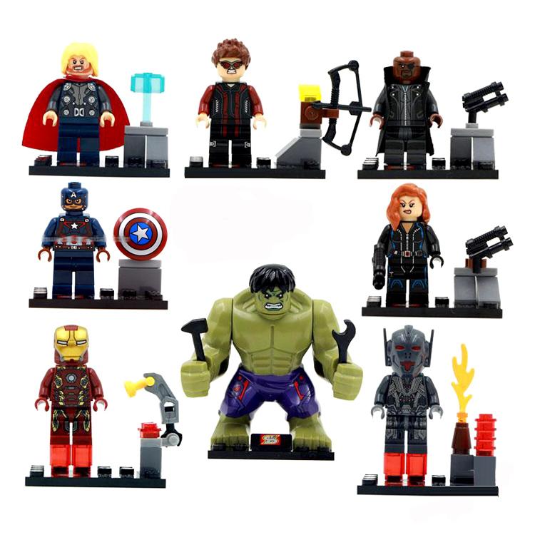 8pcs Avengers 2 Age of Ultron Marvel Comics Iron Man Hulk Thor Building Blocks Super Hero Minifigures Toys Compatible With Legoe(China (Mainland))