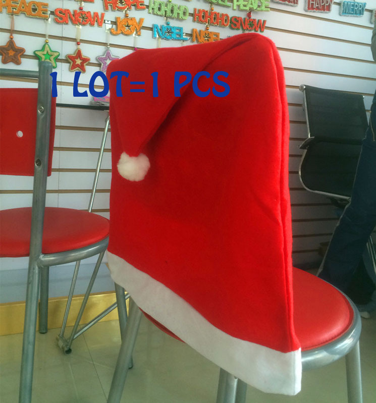 Hot 1PCS Christmas Decorations Indoor Supplies,Christmas, New Year Kitchen Dinner Chairs Banquet Covers Cover,Navidad,Free Ship(China (Mainland))