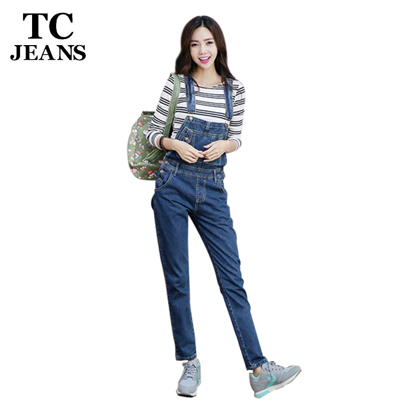 Tc brand women denim jumpsuit 2016 spring autumn casual for Matching denim shirt and jeans