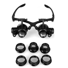 Magnifying Glasses Resin Lupa 10X 15X 20X 25X Eye Jewelry Watch Repair Magnifier Glasses With 2 LED Lights New Loupe Microscope(China (Mainland))