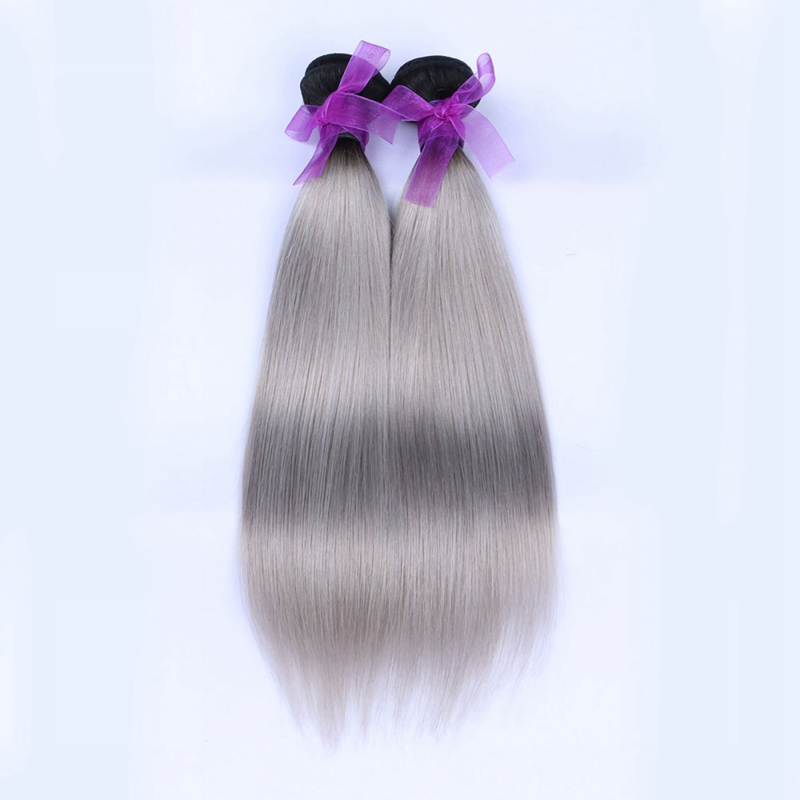 7A Grade Virgin Brazilian Human Gray Hair Straight 2 Bundle Cheap Remy Human Hair Extensions Brazilian Straight Virgin Grey Hair