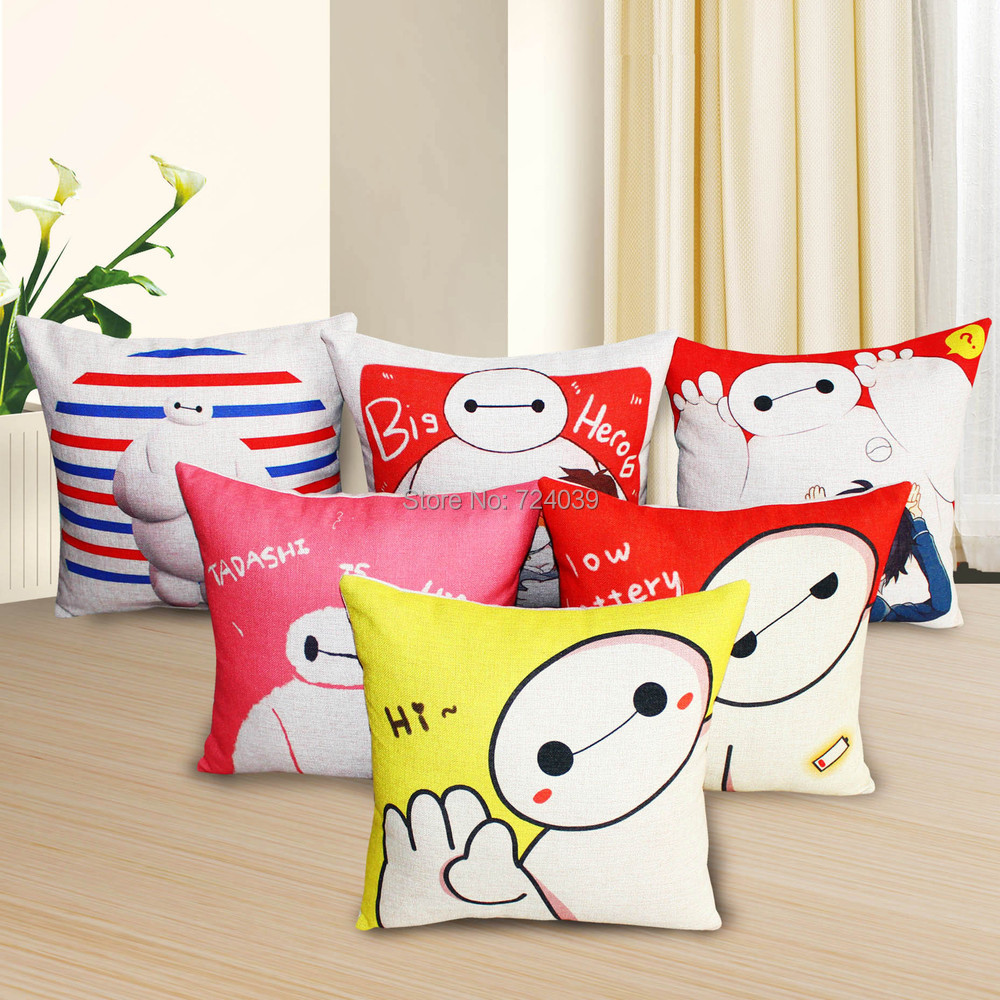 45*45cm Big hero 6 Baymax cotton linen fabric seat car sofa neck office nap pillow cartoon printed cushion - Shen Zhen CHBEST Trade Co.,Ltd store