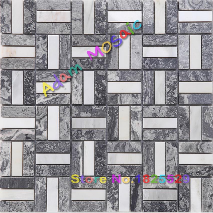 natural grey white mosaic tile stone marble wall tiles brick kitchen backsplash(China (Mainland))