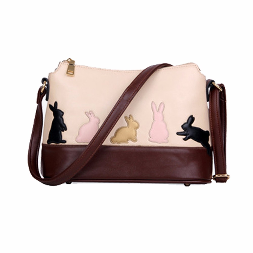Fashion Women Shoulder Bag Cute Cat Rabbit Leather Handbag Cross Body  Purse  Messenger Bags Bolsas Feminina #0511