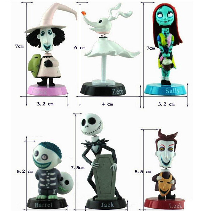Nightmare Before Christmas 6 Figure Toy Doll Cake Topper Playset **U.S Seller**