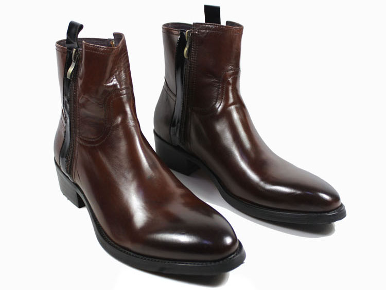 Free shipping 2014 men winter boots zip genuine cowhide leather low-key luxury wedding ankle men boots 2 color size:6.5-11 Bo80(China (Mainland))