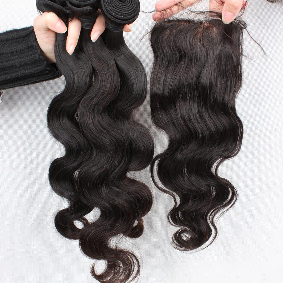 Unprocessed Brazilian virgin hair body wave silk base closure with bundles free part silk base closure with 3PCS bundles 5A<br><br>Aliexpress