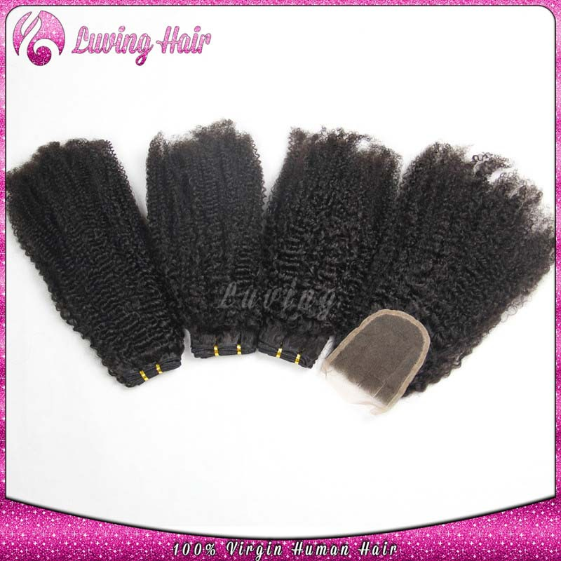 +=Brazilian Kinky Curly Virgin Hair With Closure Afro Kinky Curly Hair With Closure Human Hair Weave 3 Bundles With Lace Closure