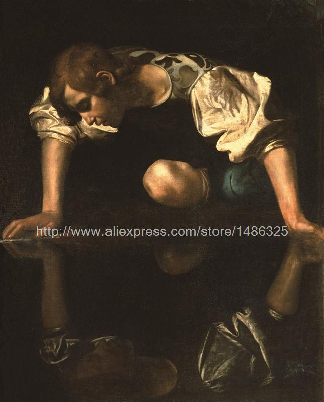 Wall Art Wall Pictures For Boss Gifts Kitchen Wall Painting Large Caravaggio High Quality Painting Religious Scenes Narcissus(China (Mainland))