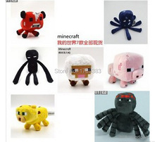 1Pcs free shipping Minecraft Plush Toys Bat Zombie Cow Squid Ocelot Mooshroom Pig Enderman Sheep Dolls Baby Movie My World Toys(China (Mainland))