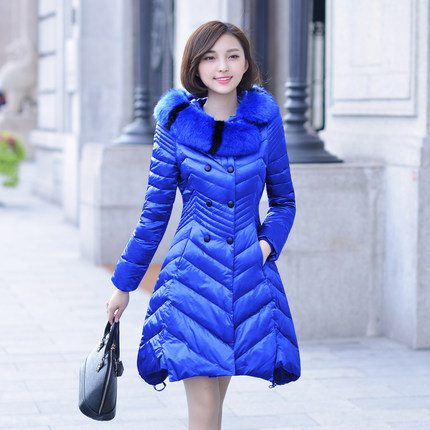 Плюс Размер пальто 2014 тонкий подлинной роскоши толстые теплых вниз куртка женщин меховой воротник и длинные участки вниз пальто женщин куртки DM448