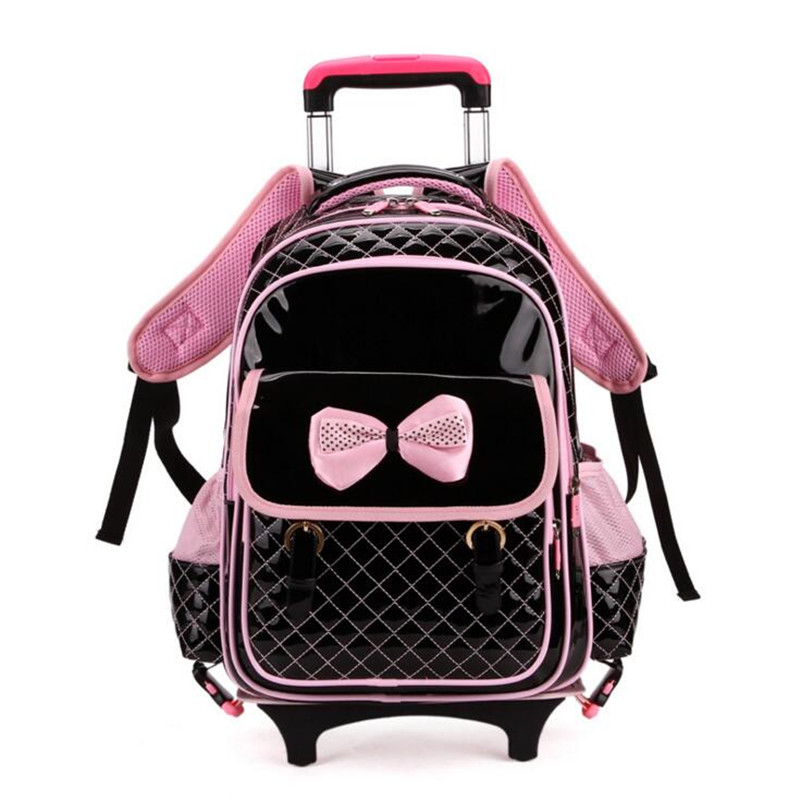 Children Trolley School Bag Backpack Wheeled School Bag For Grils Kids Princess Wheel Schoolbag Student Backpacks Bags P124(China (Mainland))