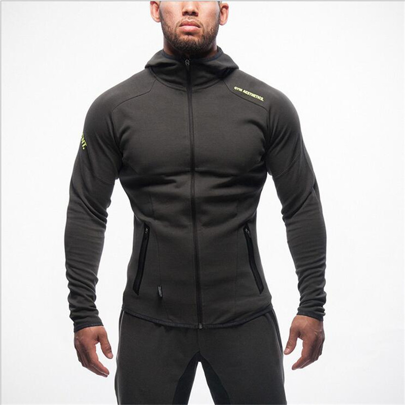 2016 Gymshark New Crime Running Fitness Clothing Men Hoodies And gold Medal Sports Fitness Zipper Unlined Upper Garment(China (Mainland))