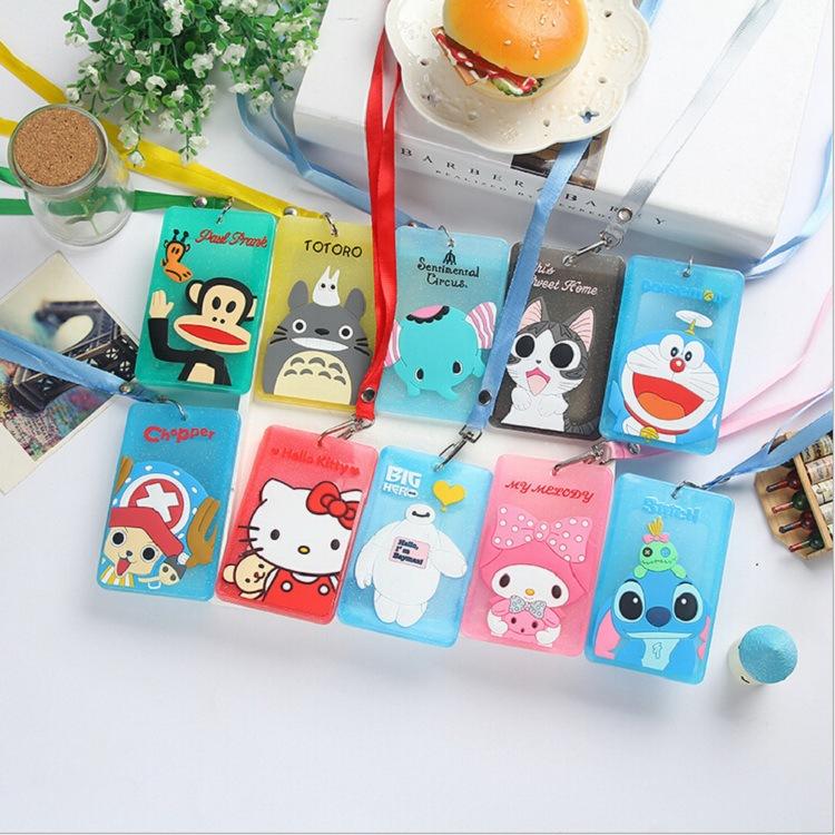 Cartoon card holder with string Soft silicone ID Cards case Kitty Rilakkuma Baymax Totoro Doraemon Office school supplies(China (Mainland))